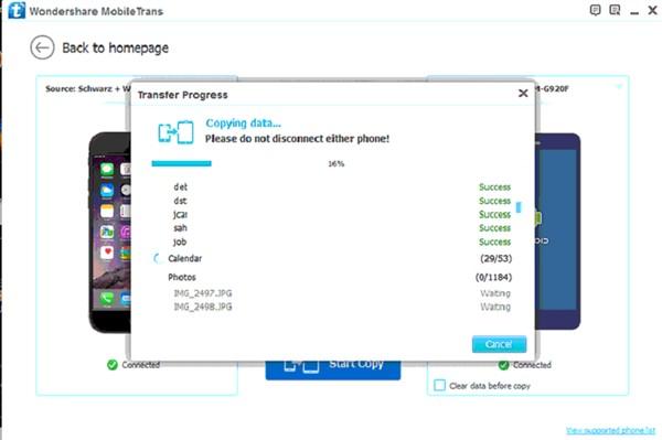 4 2 - تطبيق MobileTrans لنقل الملفات بين هواتف الآيفون والأندرويد