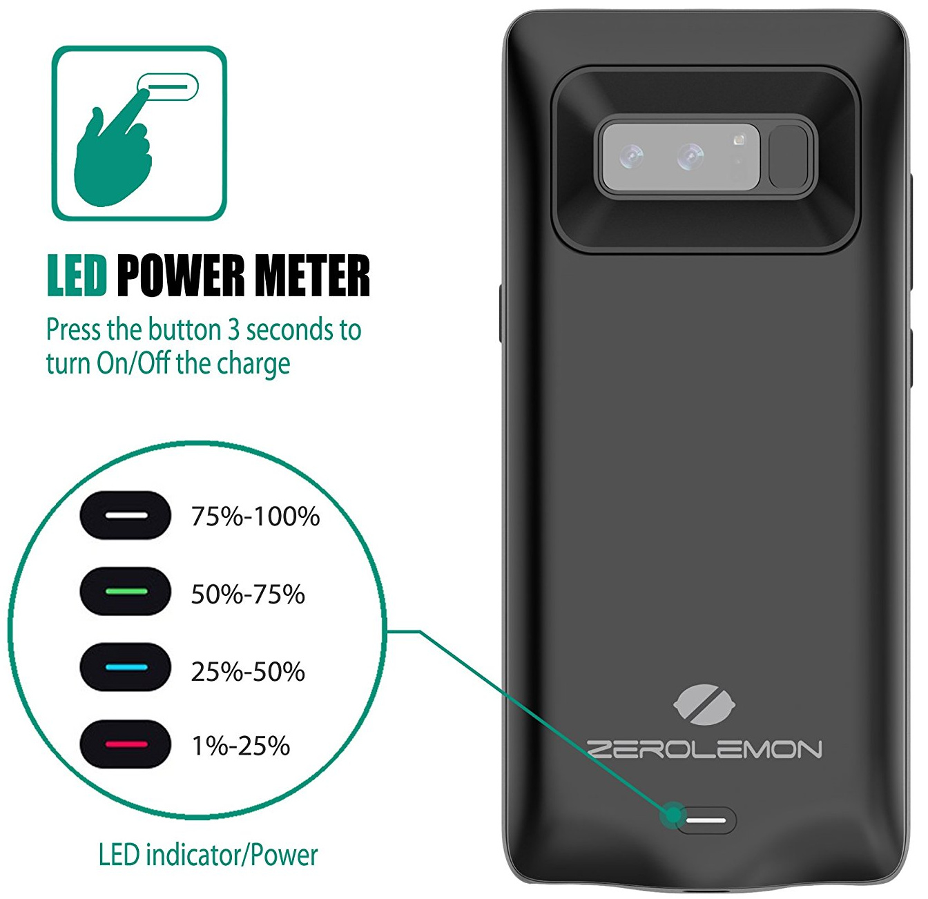 zerolemon note 8 battery case thick - حافظة لهاتف جالكسي نوت 8 تزيد سعة البطارية مرة ونصف تقريبا