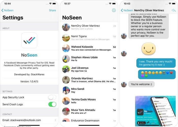 """NoSeen - تطبيق لمنع ظهور علامة """"تم العرض"""" لدى الطرف الأخر في الماسنجر"""