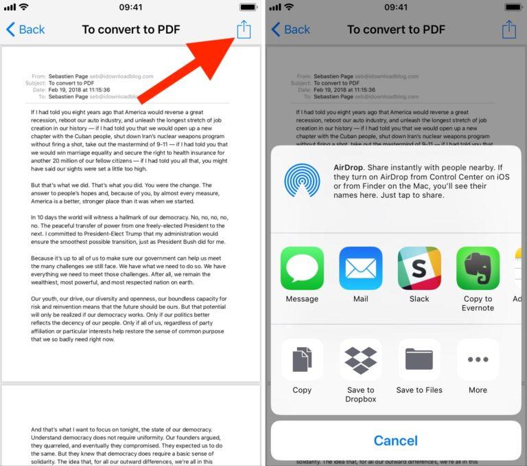 23 - تعرف على طريقة حفظ رسائل البريد الإلكتروني كملف PDF في آيفون وآيباد