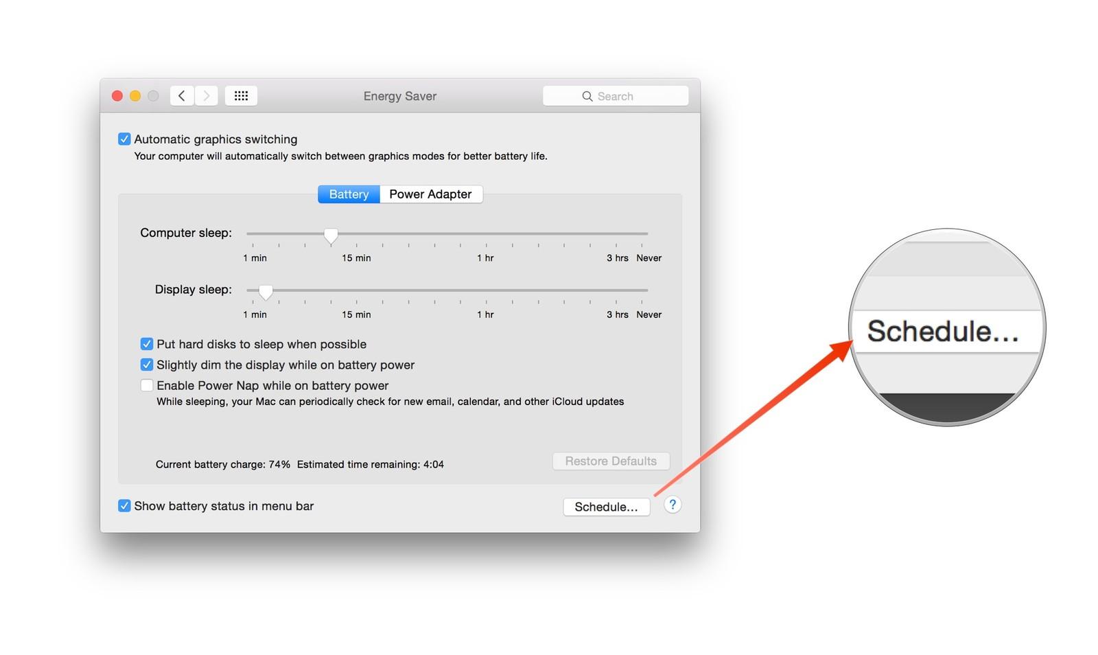 2 6 - بالصور، تعرف على طريقة جدولة تشغيل وإغلاق الماك الخاص بك بدون الحاجة إلى أية برامج