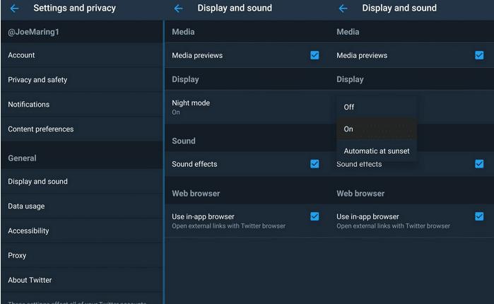 """twitter dark mode 699x430 - بهذه الخطوات تستطيع تفعيل ميزة الوضع الليلي""""Night mode"""" في تطبيق تويتر"""