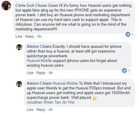 huawei facebook - هواوي تسخر من آبل بتوزيع بطاريات متنقلة على طوابير شراء آيفون XS من متاجرها