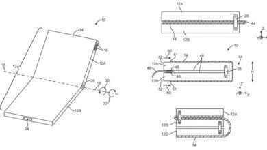Apple foldable phone patents 390x220 - براءة اختراع جديدة تسجلها شركة آبل تكشف عن تصميم الجوال القابل للطي المستقبلي لها
