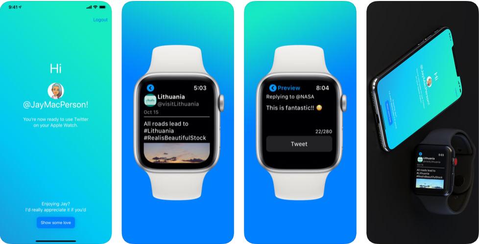 2 - تطبيق Jay for Tweeting لتصفح تويتر والرد على التويتات من ساعة آبل