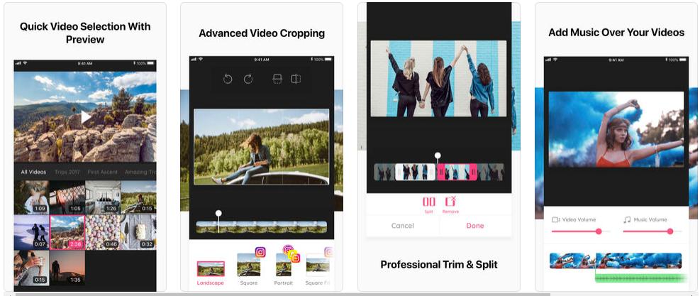 Screenshot 3 - تطبيق Crop Video لاقتصاص الفيديو وإعادة ترتيبه، لمستخدمي نظام التشغيل iOS