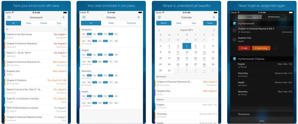 Screenshot - تطبيق myHomework لمساعدة الطلاب على تنظيم الوقت الخاص بالدراسة