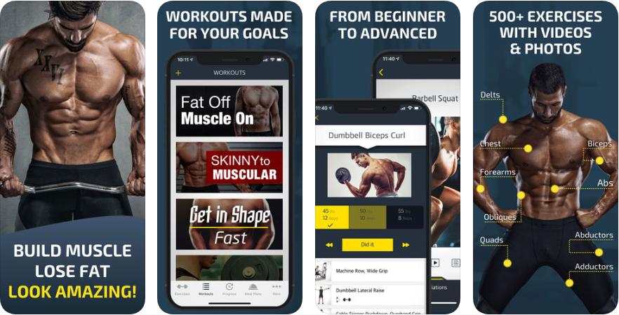 Screenshot 1 - تطبيق Workout: Gym tracker & planner يعطيك تمارين رياضية لتمارسها في الجيم