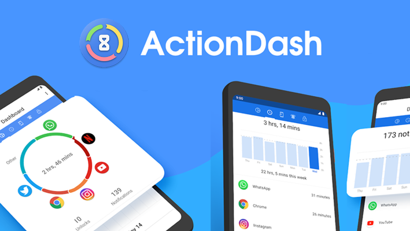 get insights how much time spend on apps - تطبيق ActionDash لمعرفة الوقت الذي تقضيه على كل التطبيقات واحصاءات اخرى